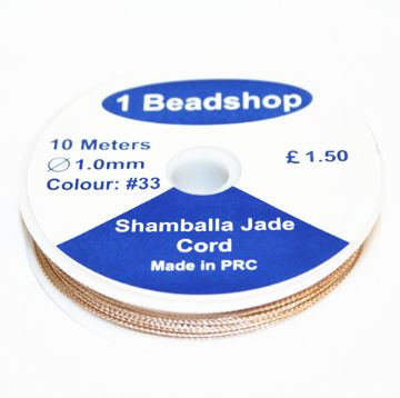 Champagne 033: 10 Metres x 1.0mm Jade  Cord JSC-10-1.0-033 / S.B